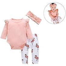 Conjunto de 3 piezas de trajes de bebé rosa con volantes de algodón para bebé,