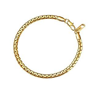 PROSTEEL Herren Halskette hochwertig Edelstahl Venezianierkette Ankerkette Box Kette 4MM/6MM breit Kette mit Karabinerverschluss für Männer Jungen, Länge 46-76CM wählbar