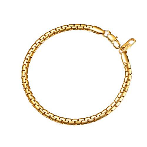 PROSTEEL Pulsera de Oro Hombre Acero Inoxidable de Cadena eslabones Haricot 20cm Cadena para Hombre Mujer Tono Plata Brazalete