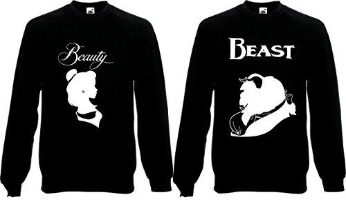 Paare Passende Pullover Beauty & Beast Silhouetten Viktorianischer Stil Valentine Jumper Gr. Large, schwarz (Disney Paare Sweatshirts)