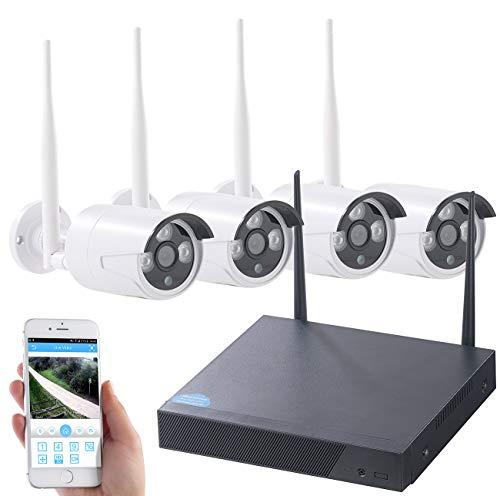 VisorTech Überwachungskamera: Funk-Überwachungssystem, HDD-Rekorder & 4 IP-Kameras, Plug & Play, App (Überwachungs Set) - Hause Zu App Sicherheit Mit