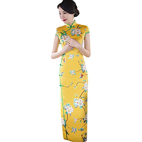 Haodasi Elegant Frauen Traditionell Blumen gedruckt Cheongsam Abendkleid Seide Slim Qipao Lange Kleid Robe 04#