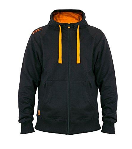 Fox Black Orange lightweight zipped Hoodie - Angelpullover, Anglerpullover, Hoody, Kapuzenpullover, Pullover, Größe:S (Fox Hoody)