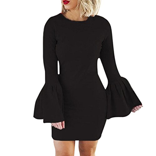 Kanpola Kleider Damen Sexy Puff Ärmeln Kleid Damen Abend Party Minikleid (Bootcut-kleid)