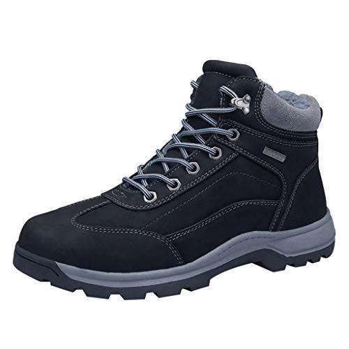HDUFGJ Herren Trekking-& Wanderhalbschuhe Plus Samt Warm halten rutschfeste Schneeschuhe Outdoor-Schuhe Reiseschuhe Verschleißfest Wasserdicht Freizeitschuhe Leichtgewicht Damen42(Schwarz)