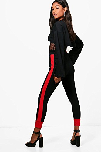 Femmes rouge Alina Legging De Sport Crêpé Contrasté Aux Chevilles Rouge