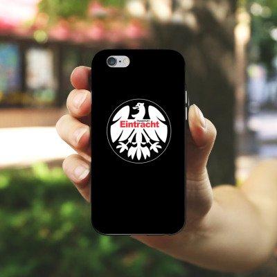 Apple iPhone 6 Plus Tasche Hülle Flip Case Eintracht Frankfurt Fanartikel Fussball Silikon Case schwarz / weiß