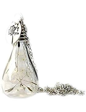 Kette - Pusteblume im Glas mit 925 Sterling Silber Scheibe