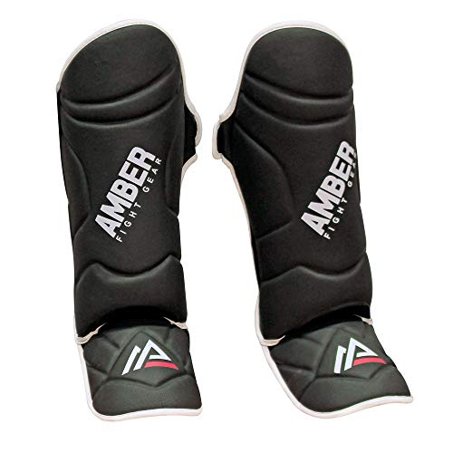 Amber Fight Gear Centurion Muay Thai Shin and Instep Muay Thai Kickboxing Protective Training Sparring Shin Guards Pair (M) -