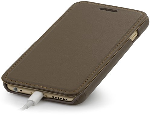StilGut Book Type Case, custodia in vera pelle a libro con apertura laterale per Apple iPhone 6s (4.7), Rosso Vinaccia Marrone Seppia Nappa