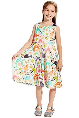 Chicolife Katzen Spielen Muster Mädchen Prinzessin Eine Linie Playwear Partykleider Kleinkind Kleidung, Weiße Große (Mädchen Kleidung Große)