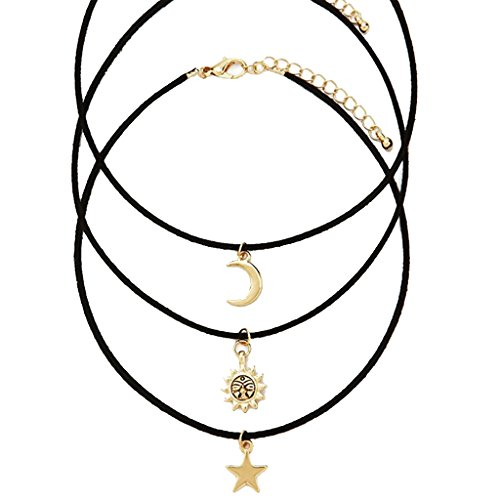 Prettyia 3pcs Collier avec Pendentif en Forme de Lune Soleil Doré et Cordon Noir pour Unisexe
