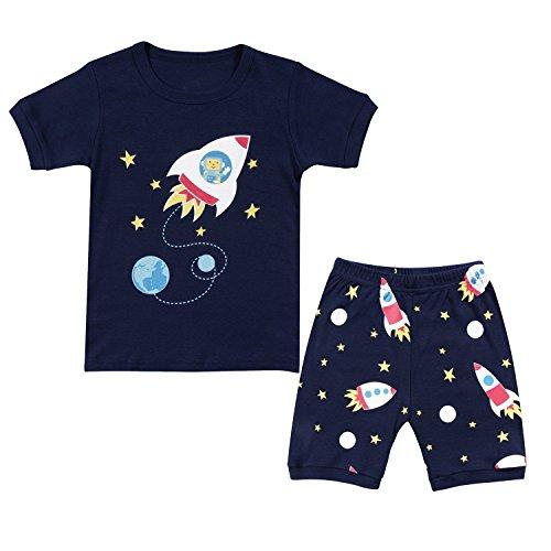 Short Pyjamas Set Kinder Rakete Tier Baumwolle Sommer Kleidung Shirts Nachtwäsche 3-4Y ()