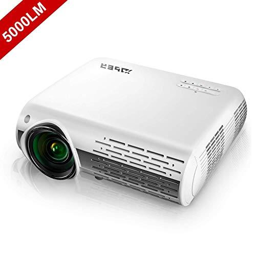 Vidéoprojecteur, YABER 5000 Lumens Full HD 1080P (1920 x 1080) Projecteur avec Réglage Trapézoïdal 4D, Deux Haut-parleurs Stéréo HiFi et 3 Dissipateurs de Chaleur par Ventilateur Intég