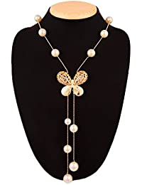 GIRISA Fashion Jewelry Stylish Pendants for Girls with Long Chain Butterfly Pendent Party Western Wear Necklace For Women & Girls