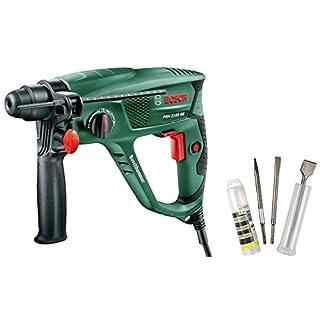 Bosch Bohrhammer PBH 2100 RE (Zusatzhandgriff, Tiefenanschlag, Koffer, 550 Watt) + Meißel-Set SDS-Plus 3tlg. (1x Spitzmeißel, 1x Spatmeißel, 1x Flachmeißel)