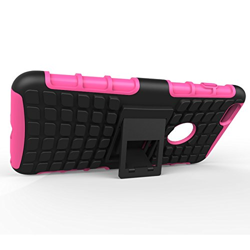 iPhone 6S Handytasche,Fugou® HandyCover Für iPhone 6 iPhone 6S 4.7 Zoll Tire Stripe Hybrid Combo High Impact Rugged Shockproof Case Cover Defender Mit Kickstand (Hot Rosa) Rosy