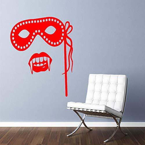 jiuyaomai Vinyl Wohnkultur Wandaufkleber Wohnzimmer Maskerade Maske Und Vampirzähne Wandtattoo wasserdichte Tapete 4 56x56 cm