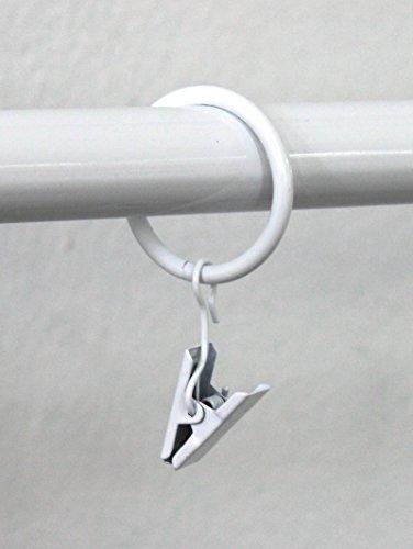 10 Stück Gardinenringe für Gardinenstange / Vorhangstange 16mm, 19mm, 20mm Durchmesser (Weiss mit Klammer) 10er-Set Ringe mit Clips für Vorhänge, Schiebevorhänge, Gardinen