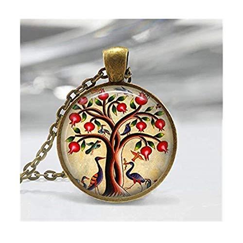 Bird Jewelry Granatapfel Fruit Tree Nature Art Anhänger Baum des Lebens Halskette -