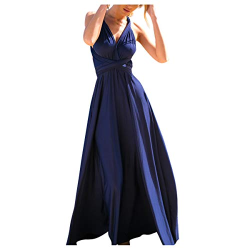 Damen Frauen Multi-tragen Kreuz Halfter Abendkleid Brautjungfer Langes Kleid Multiway-Kleid V-Ausschnitt Rückenfrei Maxikleid Sommerkleider Strandkleid Cocktailkleid Partykleid Navy Blau 42-44 -