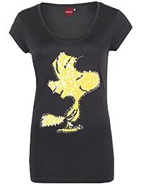 Sublevel Damen Pailletten Shirt mit Woodstock Motiv   Comic T-Shirt Einfarbig mit Rundhalsausschnitt   Logo Print