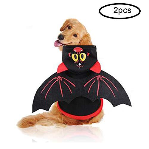 Für Kostüm Niedliche Haustiere - LKIHAH Hundekleidung Niedliches Kleines Hundekleidungs-Haustier-Halloween-Kostüm, Schläger-Flügel-Hundestrickjacke-Kapuzenpullis, Langärmliges Hemd Kleidet Halloween-Feiertags(2PCS),M