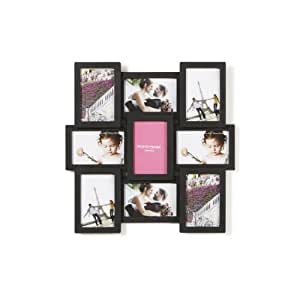 """Holds 9 Aperture Multi Image Photo Frame, 4"""" x 6"""", Available in Black & White (Black)"""