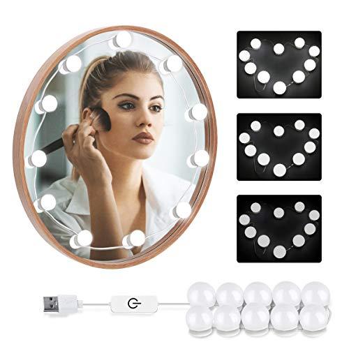 LOBKIN Luces LED Kit de Espejo con 10 Bombillas regulables,Luz Espejo Maquillaje,Tocador,Espejo,Baño,Regalo...