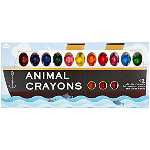 NPW - Set di pastelli colorati a forma di animali, 12 pz.