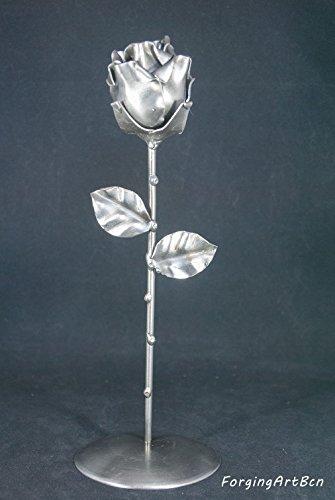 """Rosa Eterna Forjada con peana """"Ideal para regalo de San Valentín, Día de la Madre, Novia, Pareja, Cumpleaños, Navidad"""""""
