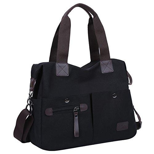 Eshow Mujeres Bolsos bandolera Mutil Function Bag Crossbody Bag Tote Carteras de Mano Color Negro