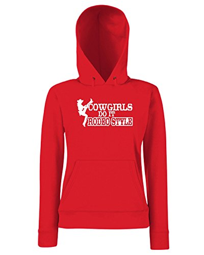 T-Shirtshock - Sweats a capuche Femme FUN1087 cowgirls do it rodeo style decal 73047 Rouge