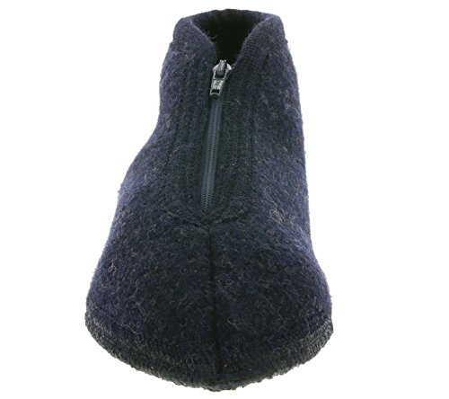 Haflinger Pantofole Kapitan Zipper 67150179 in Feltro Lana Blu Blu