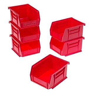 akro-mils 30210AkroBins Kunststoff-Aufbewahrungsboxen zum Stapeln, für Handwerk und Geräte, 6er-Pack, 08212RED