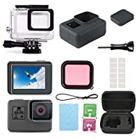 Lesgos Accessories for Gopro Hero 7/6/5 Black/Hero (2018) Waterproof Housing Case, Tempered Glass Screen Protector, Lens Film, Silicone Cover, Lens Cap, Red Filter, Anti Fog Inserts, Carrying Case