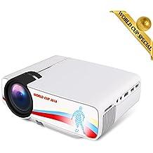 BeamerKing Proiettore, Videoproiettore LED Tema di Calcio Lumen 1500 Sostiene il Formato 1080P di Alta Risoluzione HDMI USB VGA AV for Laptop iPhone Andriod Smartphone PS4 Xbox TV Box