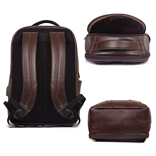 The Clownfish Fredrick 27 liters Faux Leather Mature Laptop Backpack for Men and Women for 15.6 Inch Laptops (Hickory) Image 5