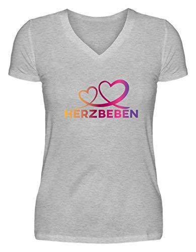 Herzbeben - Bunte Herzen - Liebe Helene - V-Neck Damenshirt -S-Grau (Meliert)