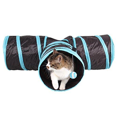 Cat Tunnel, Drei Connected Run Straße Way Tunnel Mit Spaß Ball Ausübung Für Kleine Hunde Spielen,Blue