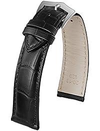 23mm correa de reloj intercambiables lujo de cuero negro pulsera para hombre elegante de cocodrilo en relieve cuero de vaca verdadera