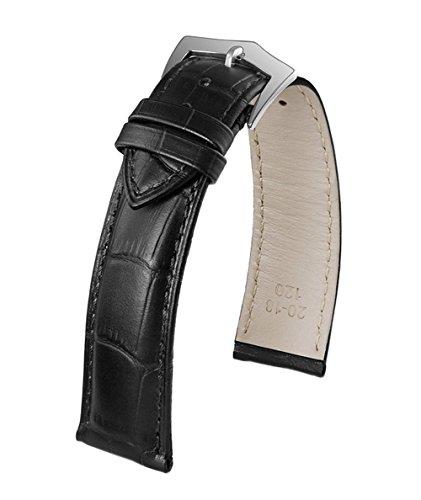 22mm austauschbar High-End-Uhrenarmband Leder schwarz echte italienisches Kalbsleder Alligatorprägung Ton-in-Ton-Schnalle Stich Stift (Austauschbare Uhrenarmbänder)