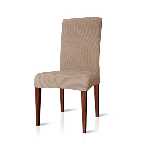 Chun yi jacquard coprisedia vesti sedia elasticizzata tinta unita (4 pezzi, sabbia)