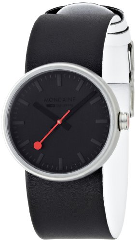 Mondaine Mondaine Bold Women's Quartz Watch with Black Dial Analogue Display and Black Leather Strap A6583030614SBB