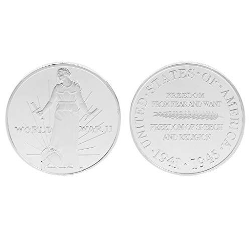 Amarzkmoneta commemorativa seconda guerra mondiale due stati uniti stati uniti monete collezione souvenir raccoglibili art gifts lega argento oro (argento)