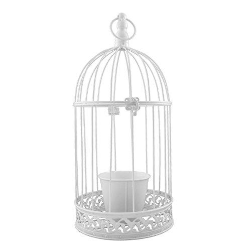 PrimoLiving Vogelkäfig aus Metall mit Kerzenhalter/Blumentopf weiß P-357
