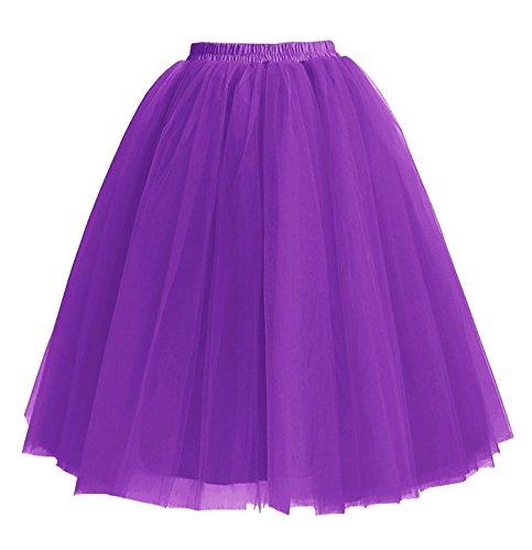 Facent Damen 5 Schichten Tüllrock Tütü Unterröcke Knielang Tüll Kleid Rock Violett