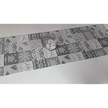 Gobelin Tischläufer Weihnachten Patchwork- Optik, grau- weiß