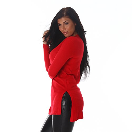 Femmes Voyelles robe pull long pull col V fente longue nervure manches en tricot 36,38,40,42. Rouge