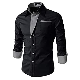 IndoPrimo Men's Cotton Casual Shirt for Men Full Sleeves (Black, Small)